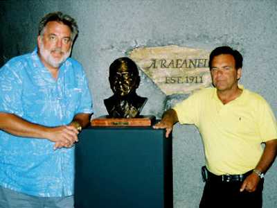 Sculptor Ed Voelkel with Dave Rafanelli and bronze portrait of his father Americo.