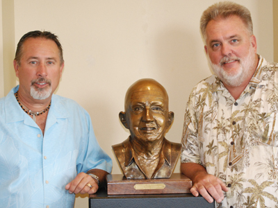 Ed Voelkel with Victor Trentadue and bronze portrait of his father Leo.