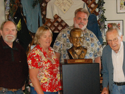 Sculptor Ed Voelkel with the Foppiano family at the unveiling of Lou Foppiano's bust.
