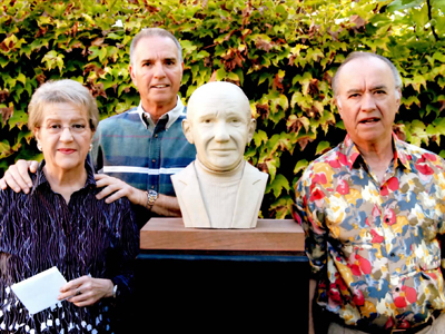 Vera, Roger, and Bob Trincheor at a critique for the bust of their father Mario Trinchero.